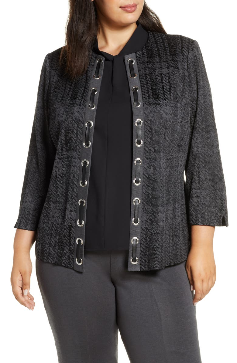 MING WANG Faux Leather Lace-Up Knit Jacket, Main, color, GRANITE/ BLACK
