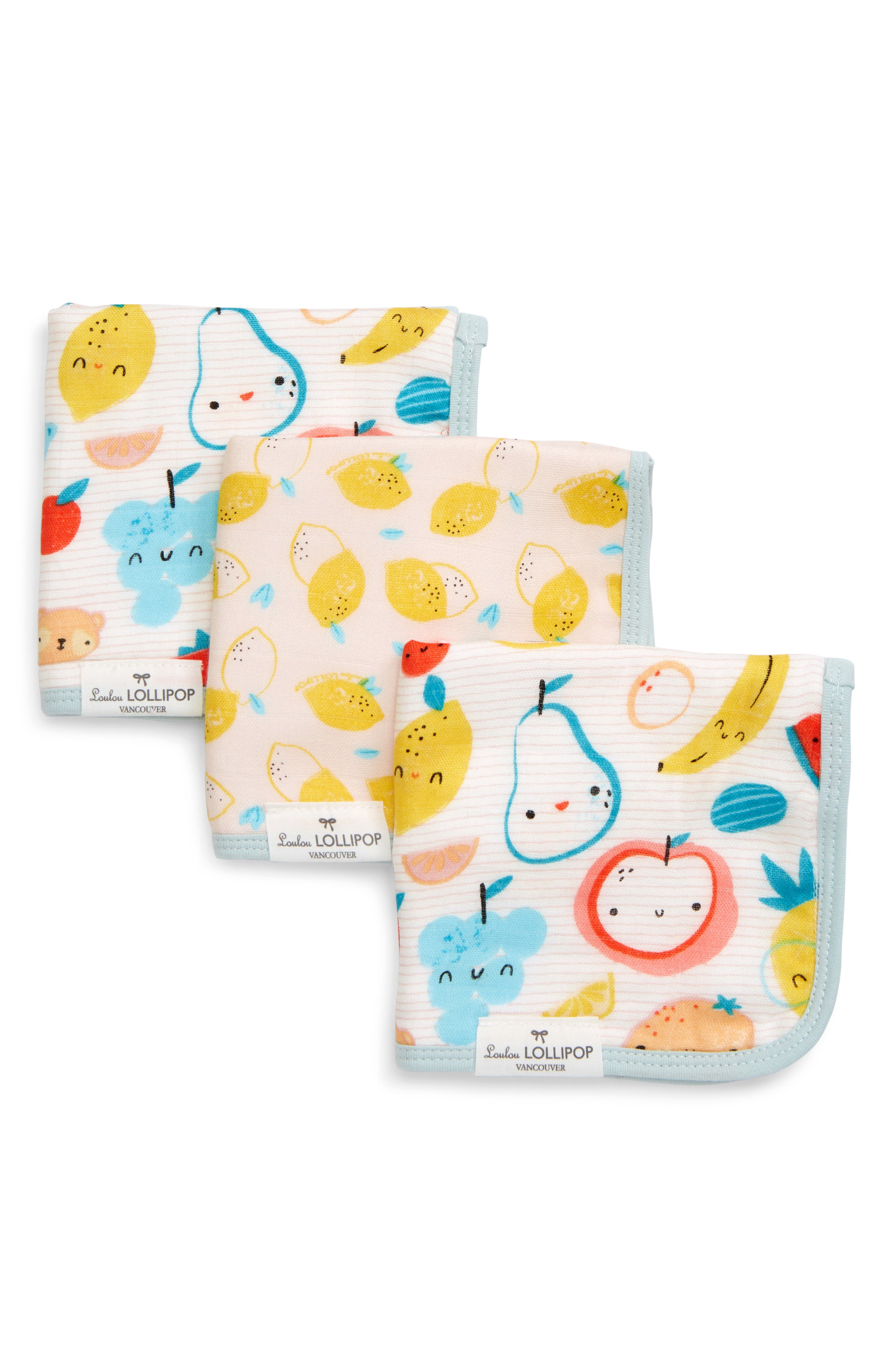 Infant Loulou Lollipop Cutie Fruits 3Pack Muslin Washcloth Set Size One Size  Yellow
