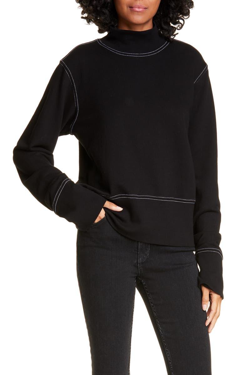 COTTON CITIZEN Milan Sweatshirt, Main, color, BLACK W/ WHITE CONTRAST