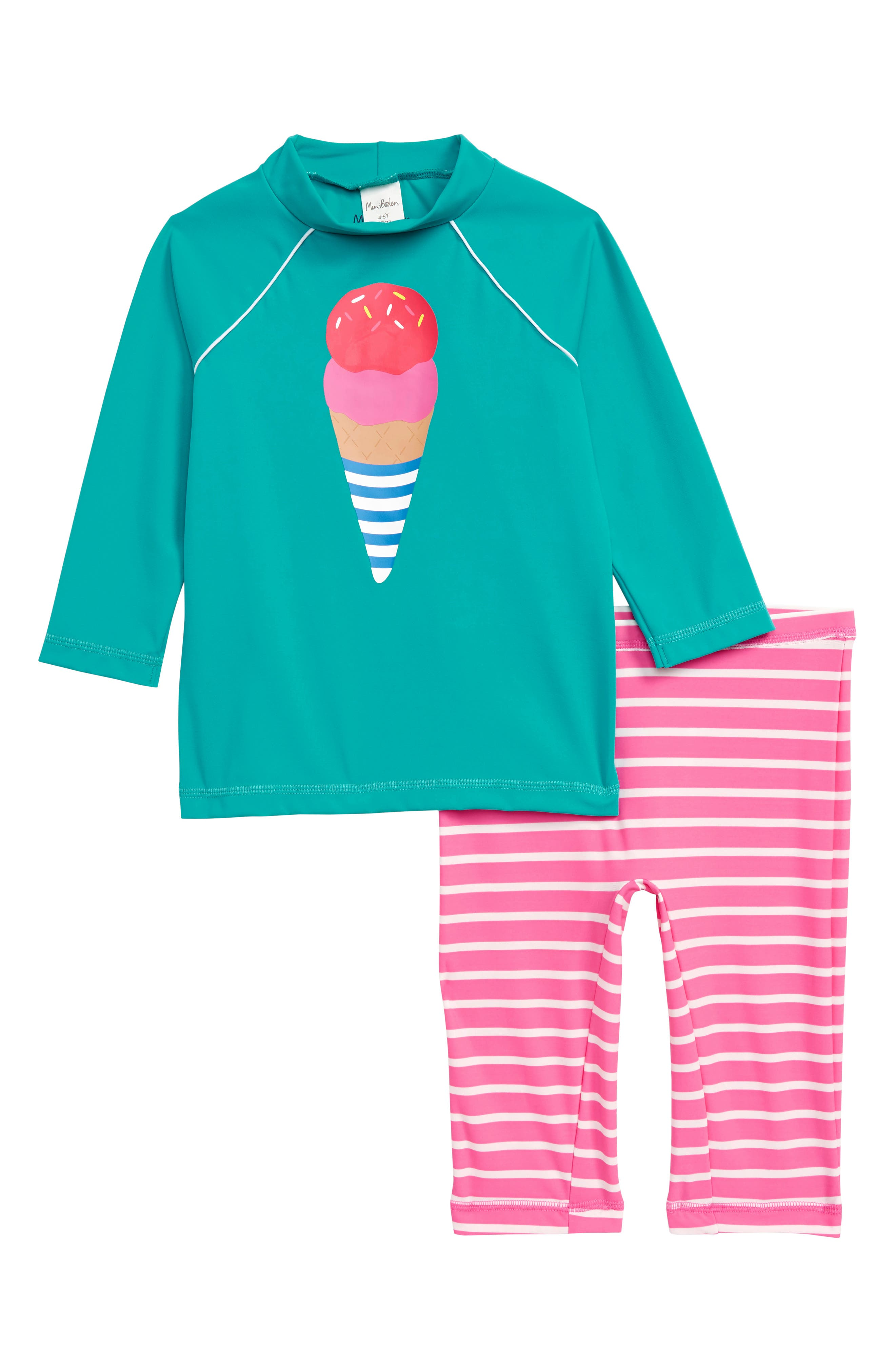 Sea Explorer Two-Piece Rashguard Swimsuit, Main, color, JADE GREEN/ IVORY ICE CREAM