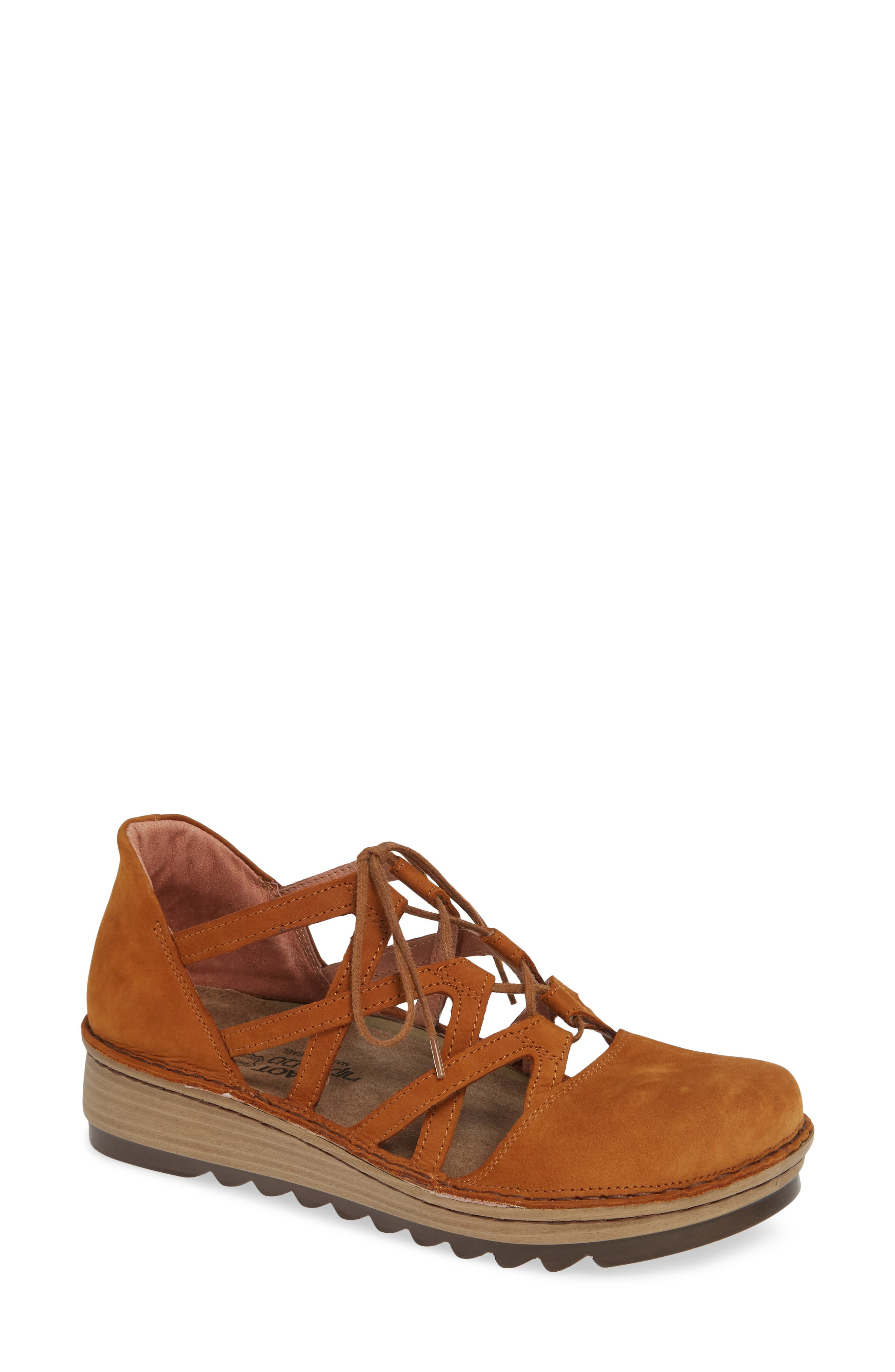 Naot Calathea Ghillie Laced Wedge, Yellow