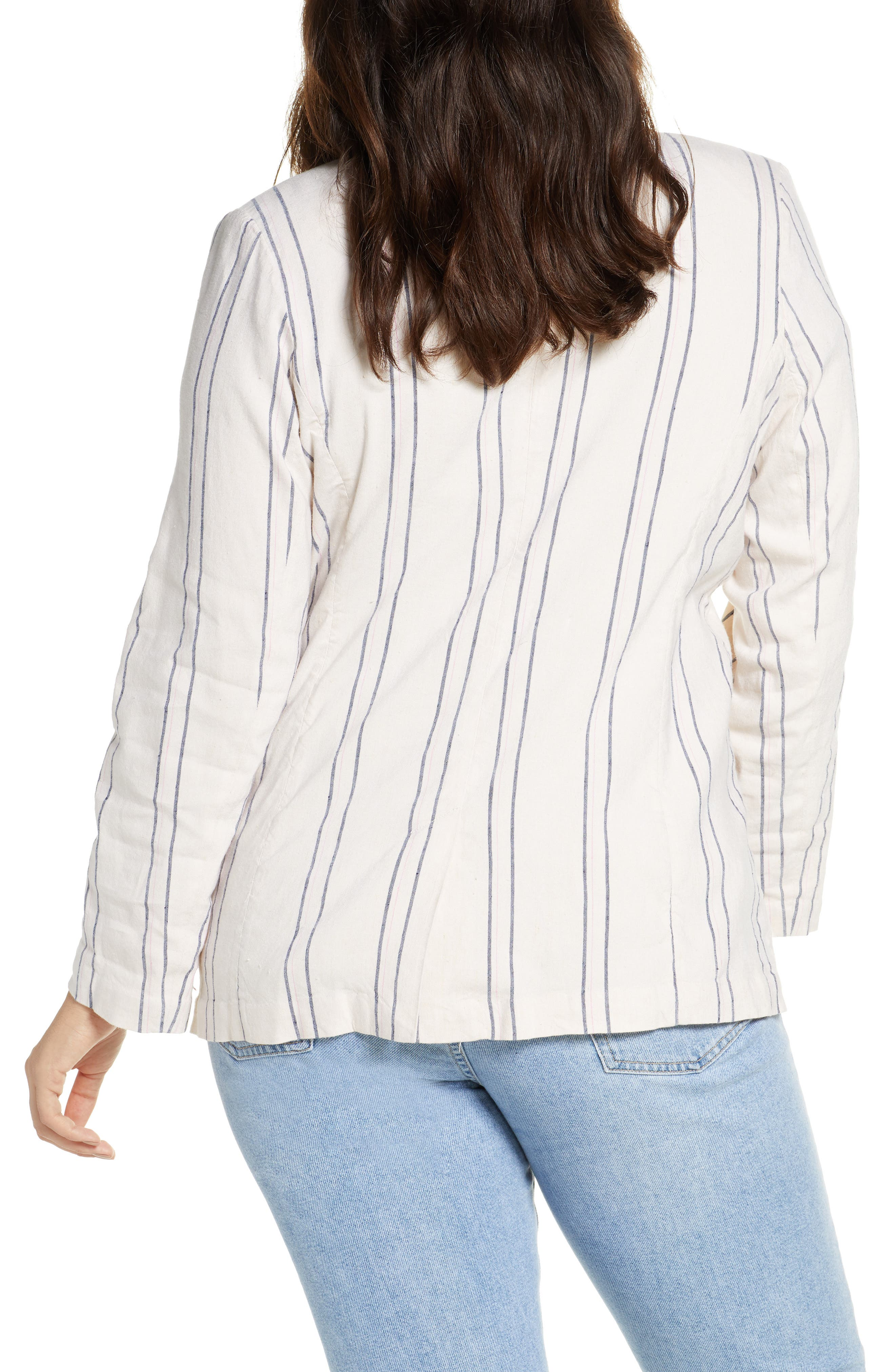 ,                             Stripe Relaxed Blazer,                             Alternate thumbnail 5, color,                             BEIGE BURNT EMMA STRIPE
