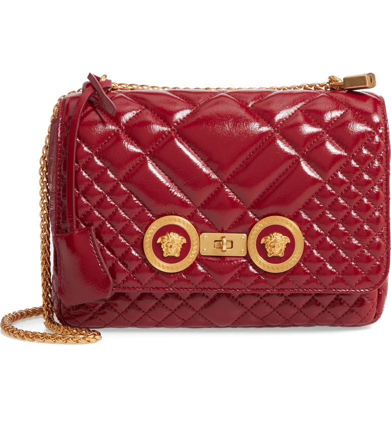 VERSACE FIRST LINE Versace Medium Icon Quilted Leather Shoulder Bag, Main, color, KSROT SUNSET RED/ TRIBUTE GOLD