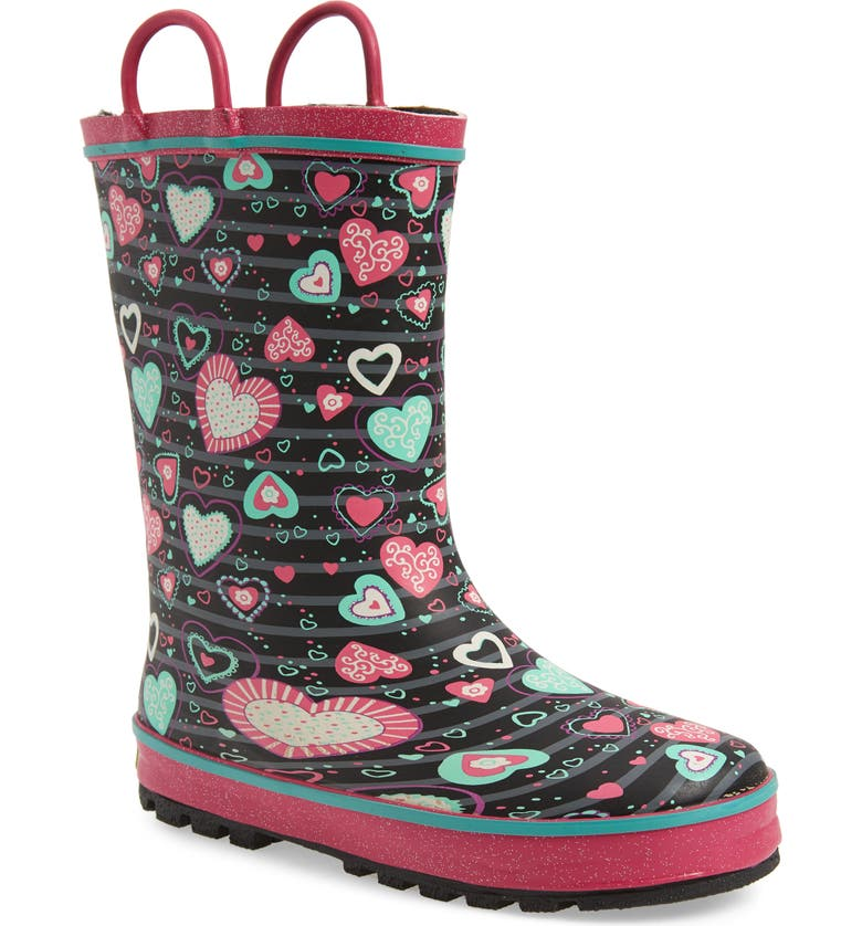 WESTERN CHIEF Neon Hearts Glitter Trim Waterproof Rain Boot, Main, color, 650