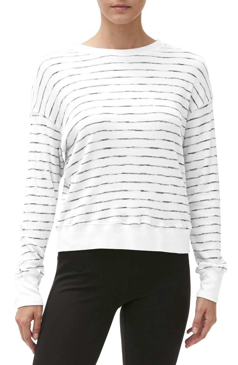 MICHAEL STARS Gigi Stripe Thermal Crewneck, Main, color, White