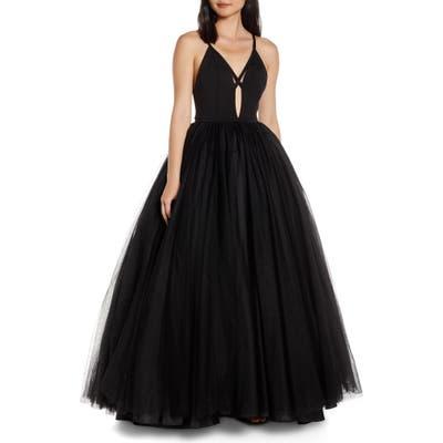 MAC Duggal Cutout V-Neck Tulle Prom Dress, Black