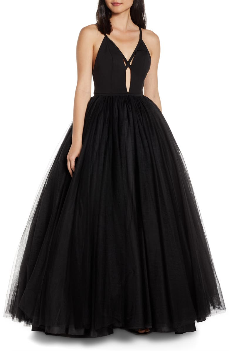 MAC DUGGAL Cutout V-Neck Tulle Prom Dress, Main, color, JET BLACK