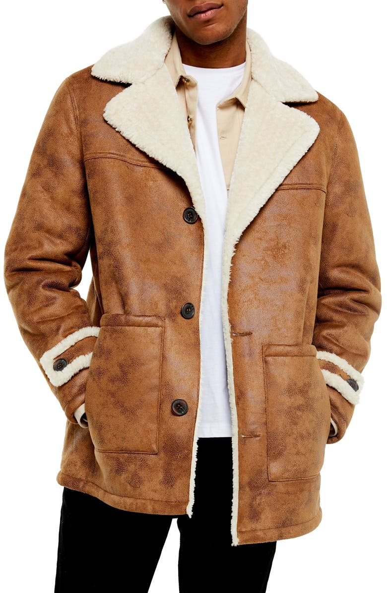 TOPMAN Aviator Classic Fit Faux Shearling Lined Coat, Main, color, BROWN