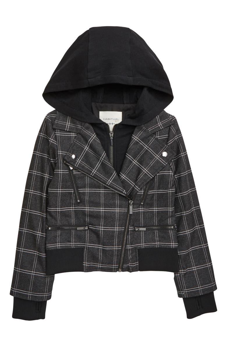 HABITUAL Girl Lyla Plaid Hooded Moto Jacket, Main, color, BLACK
