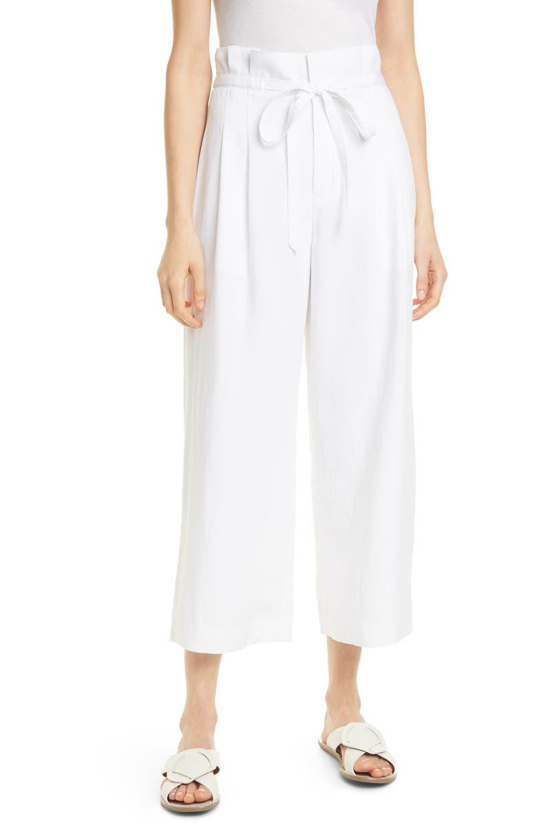 CLUB MONACO Paperbag Waist Wide Leg Crop Pants, Main, color, 100