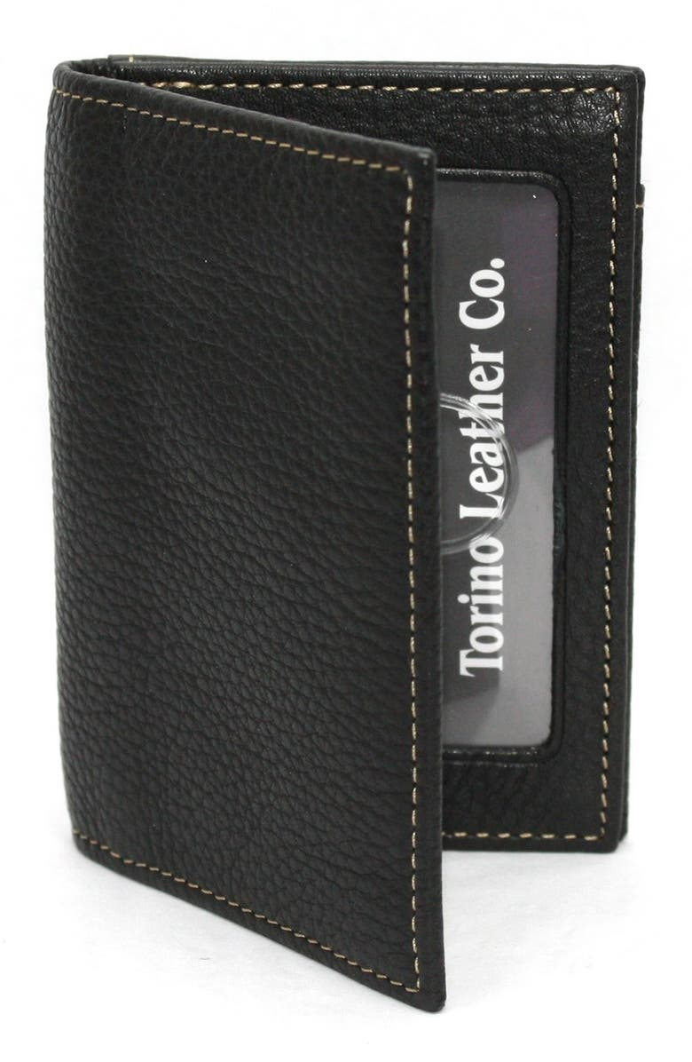 TORINO Leather Card Case, Main, color, BLACK