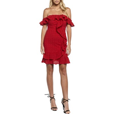 Bardot Jojo Flounce One-Shoulder Dress, Red