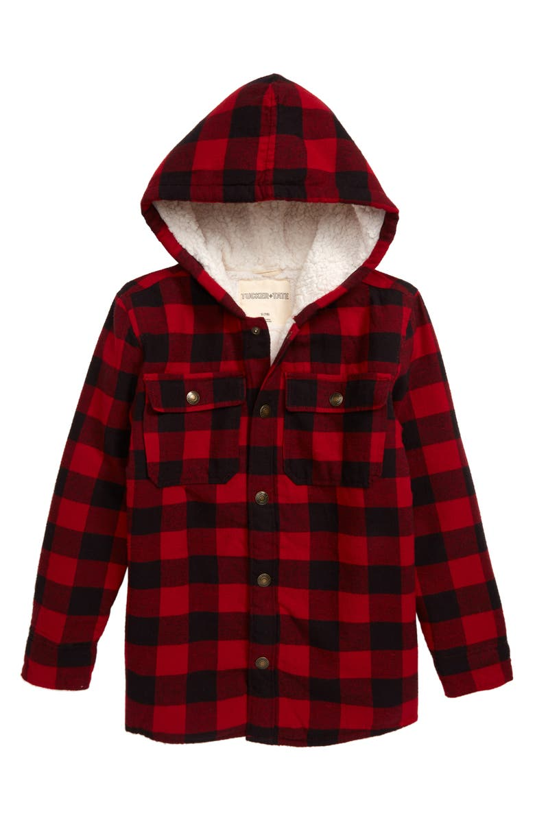 TUCKER + TATE Cozy Faux Fur Lined Shirt Jacket, Main, color, RED CHILI BUFFALO CHECK