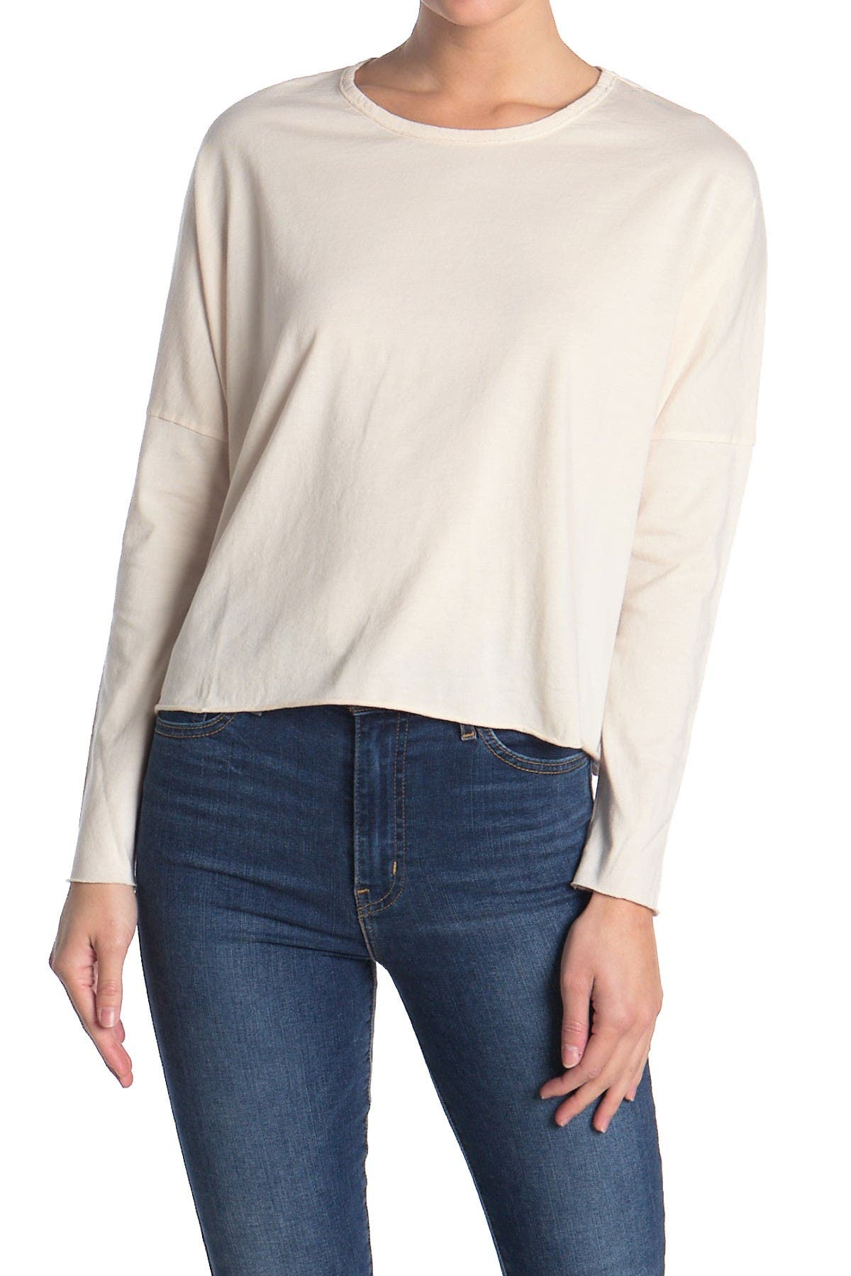 Image of FRANK & EILEEN Solid Dolman Long Sleeve Crop T-Shirt