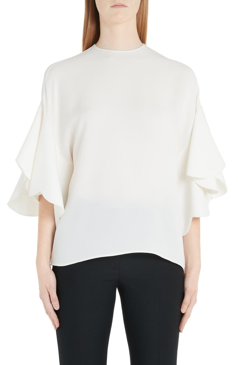 VALENTINO Flutter Sleeve Silk Blouse, Main, color, 900