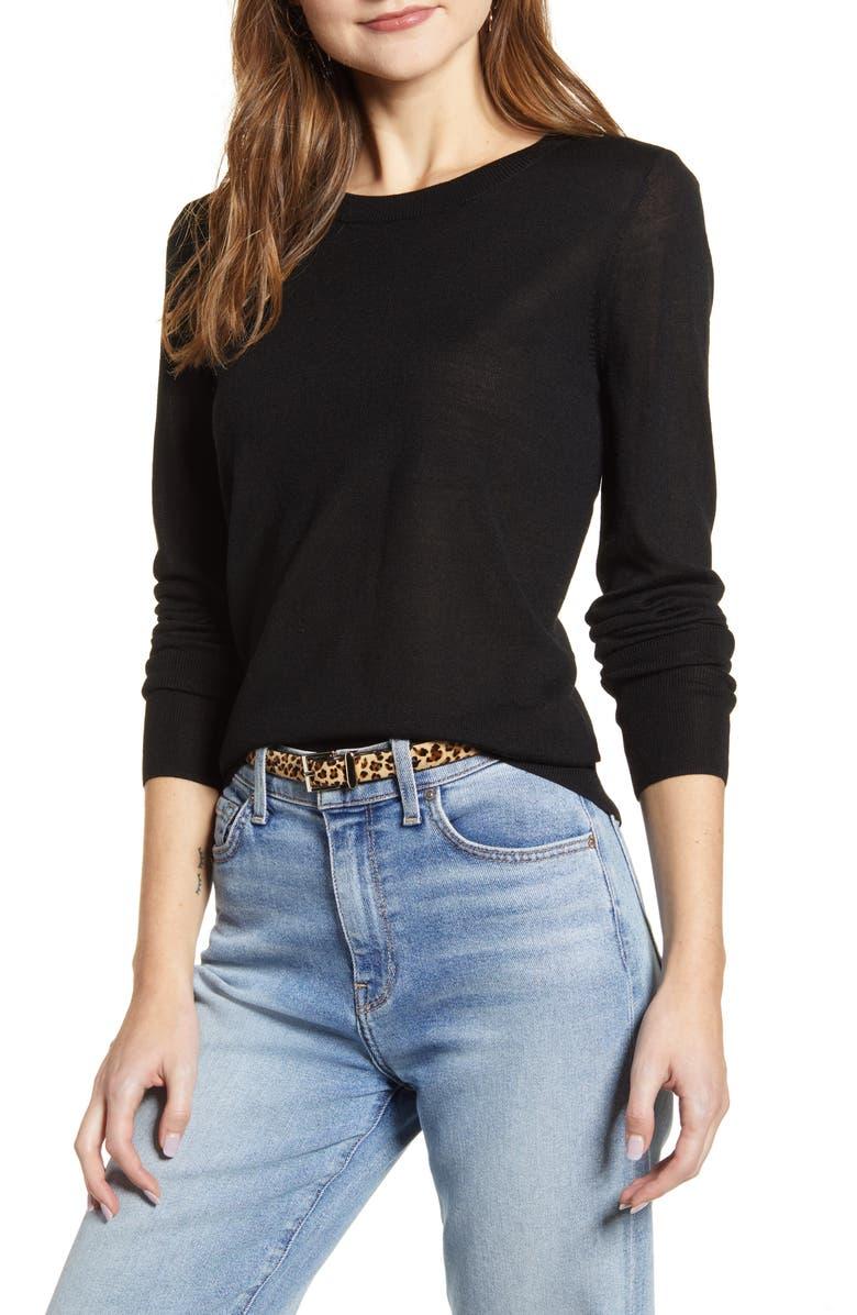HALOGEN<SUP>®</SUP> Crewneck Merino Wool Blend Sweater, Main, color, BLACK