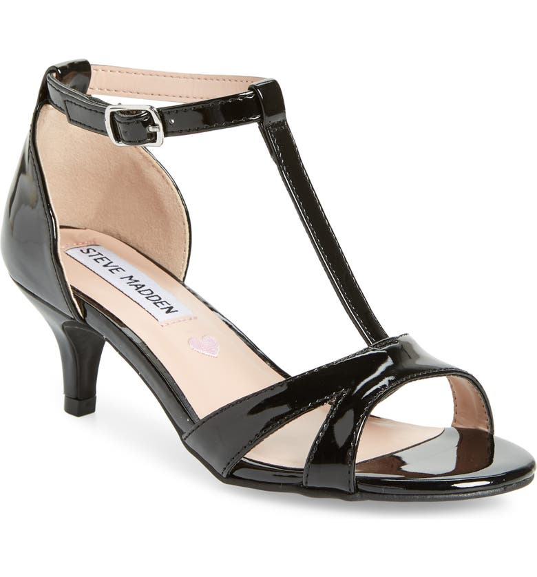 STEVE MADDEN Princess T-Strap Sandal, Main, color, BLACK