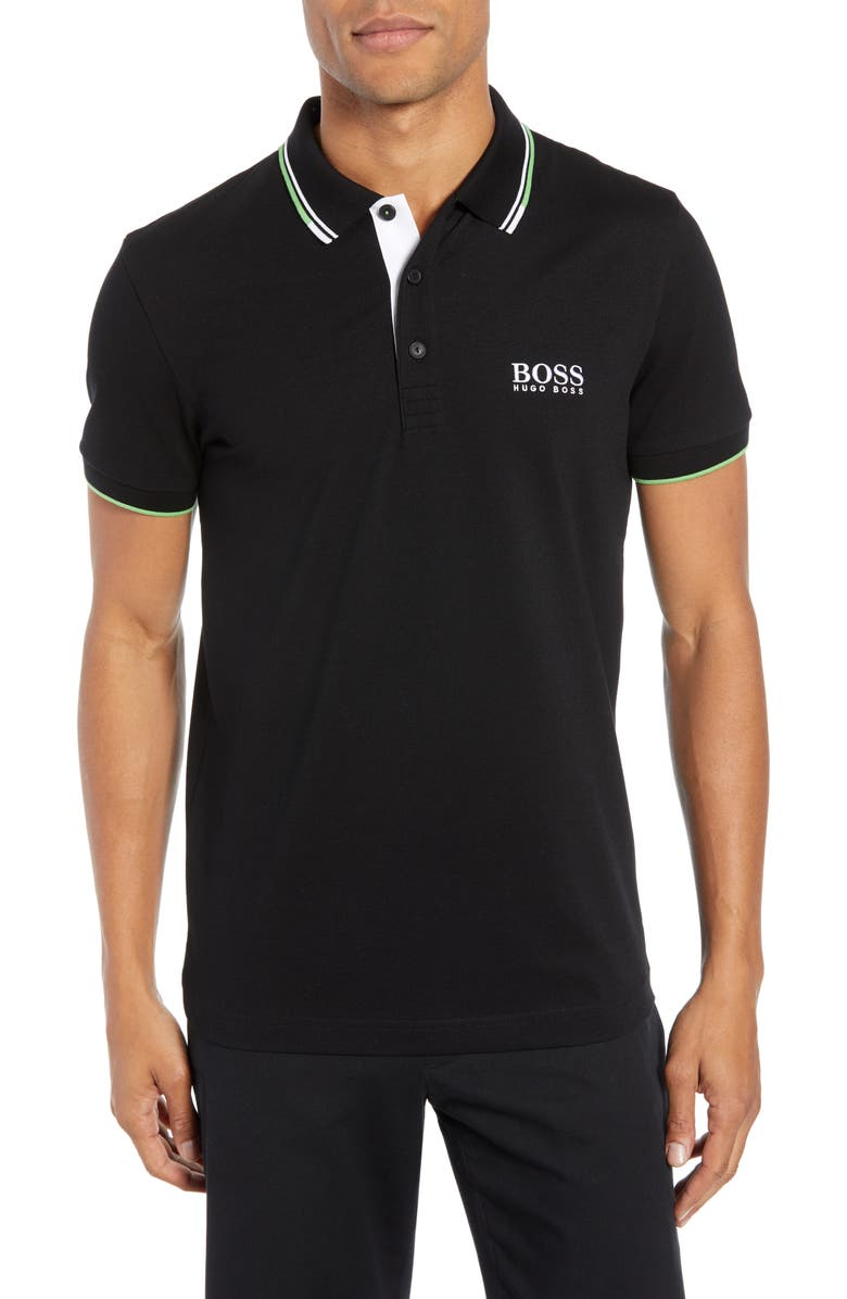 BOSS Paddy Regular Fit Polo, Main, color, BLACK
