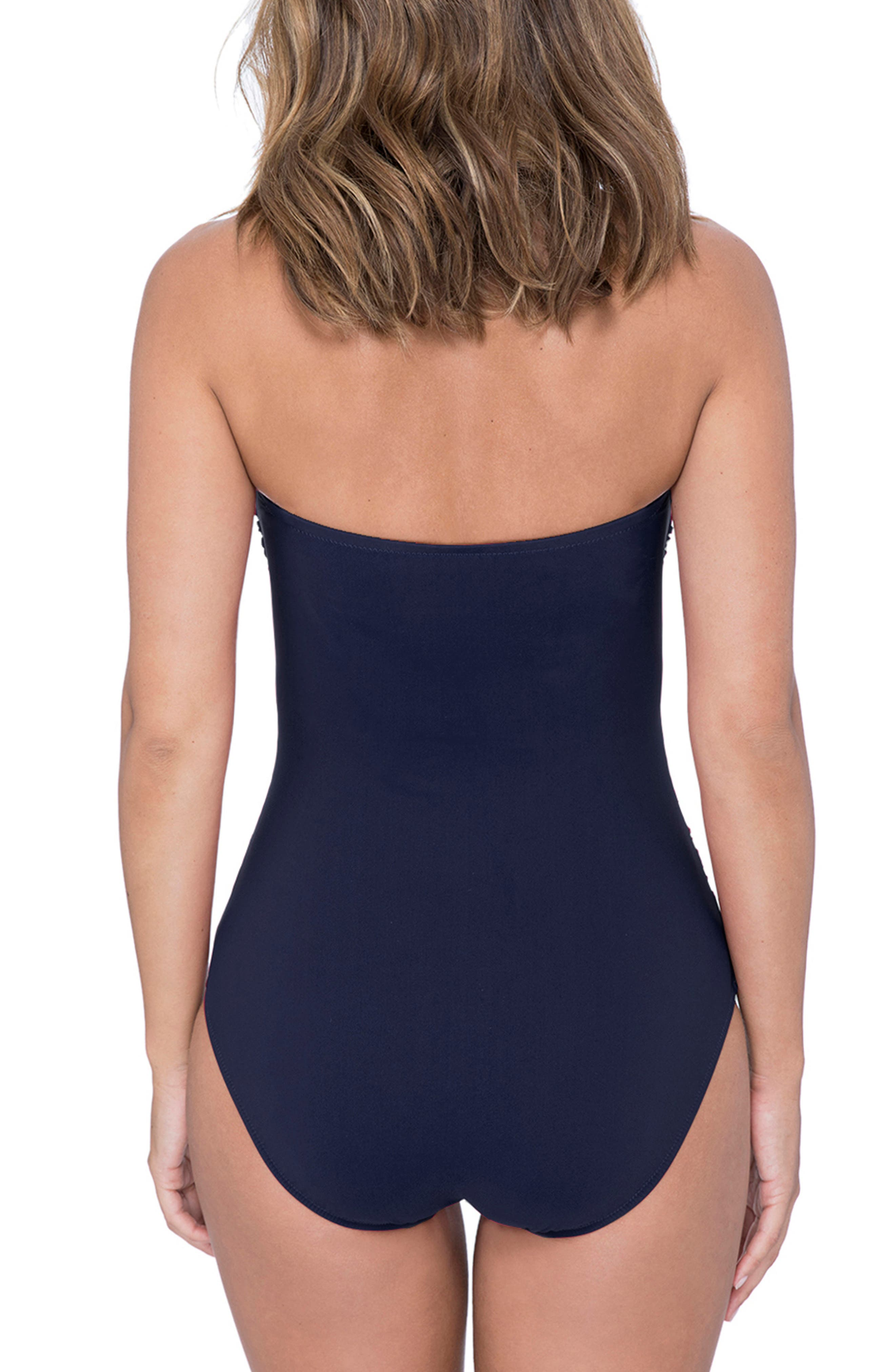 ,                             Lace-Up Strapless One-Piece Swimsuit,                             Alternate thumbnail 2, color,                             NAVY