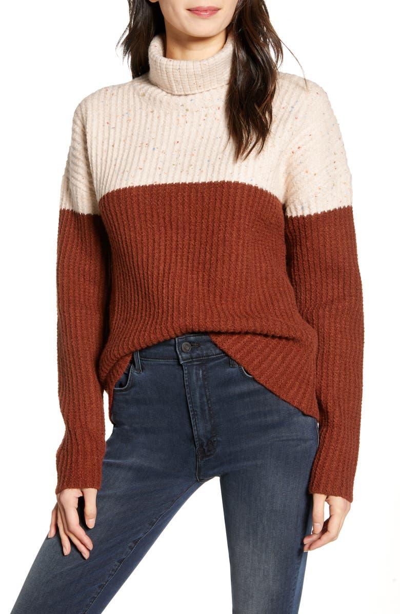 CHELSEA28 Colorblock Turtleneck Sweater, Main, color, 260