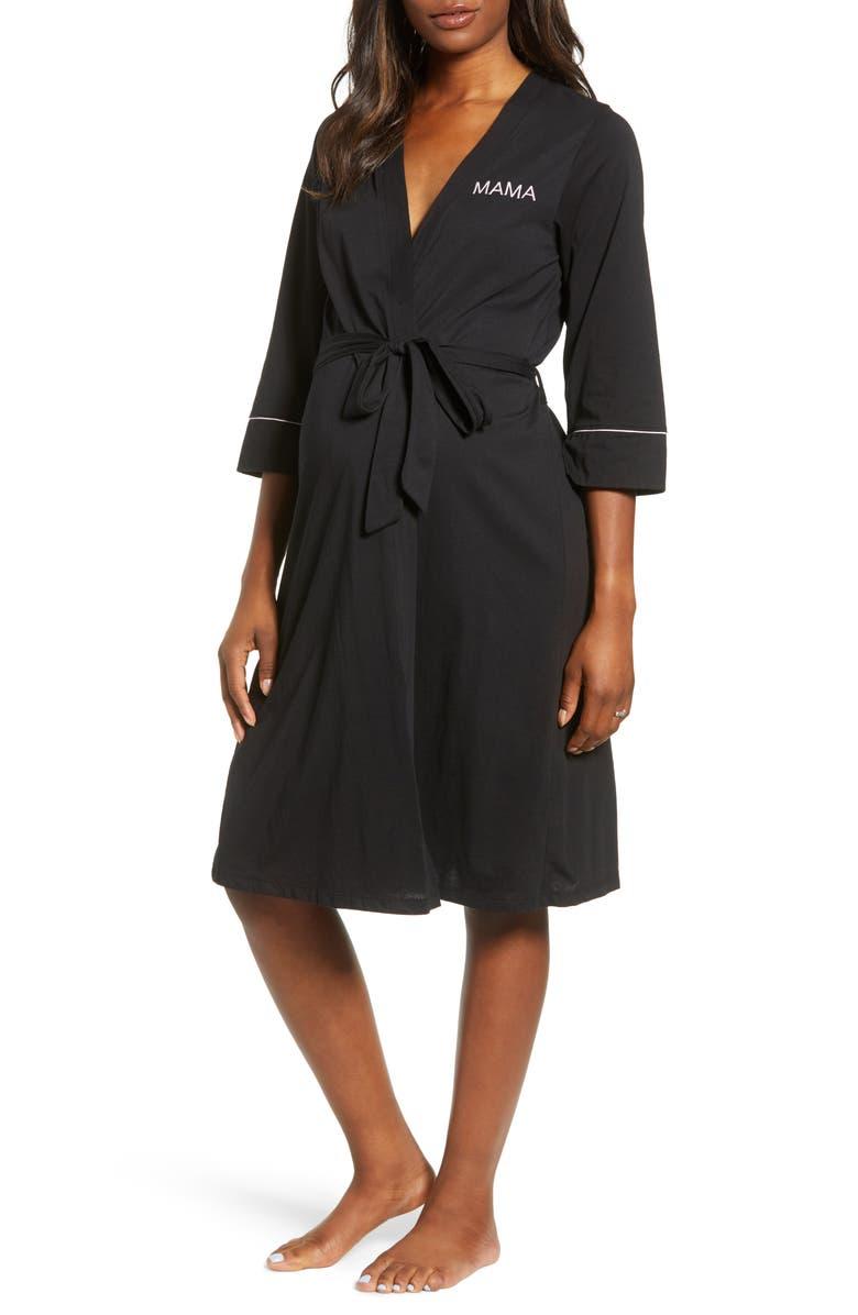 BELABUMBUM Mama Embroidered Maternity/Nursing Robe, Main, color, BLACK