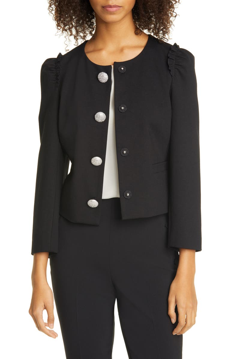KATE SPADE NEW YORK jewel snap frill sleeve ponte jacket, Main, color, 001
