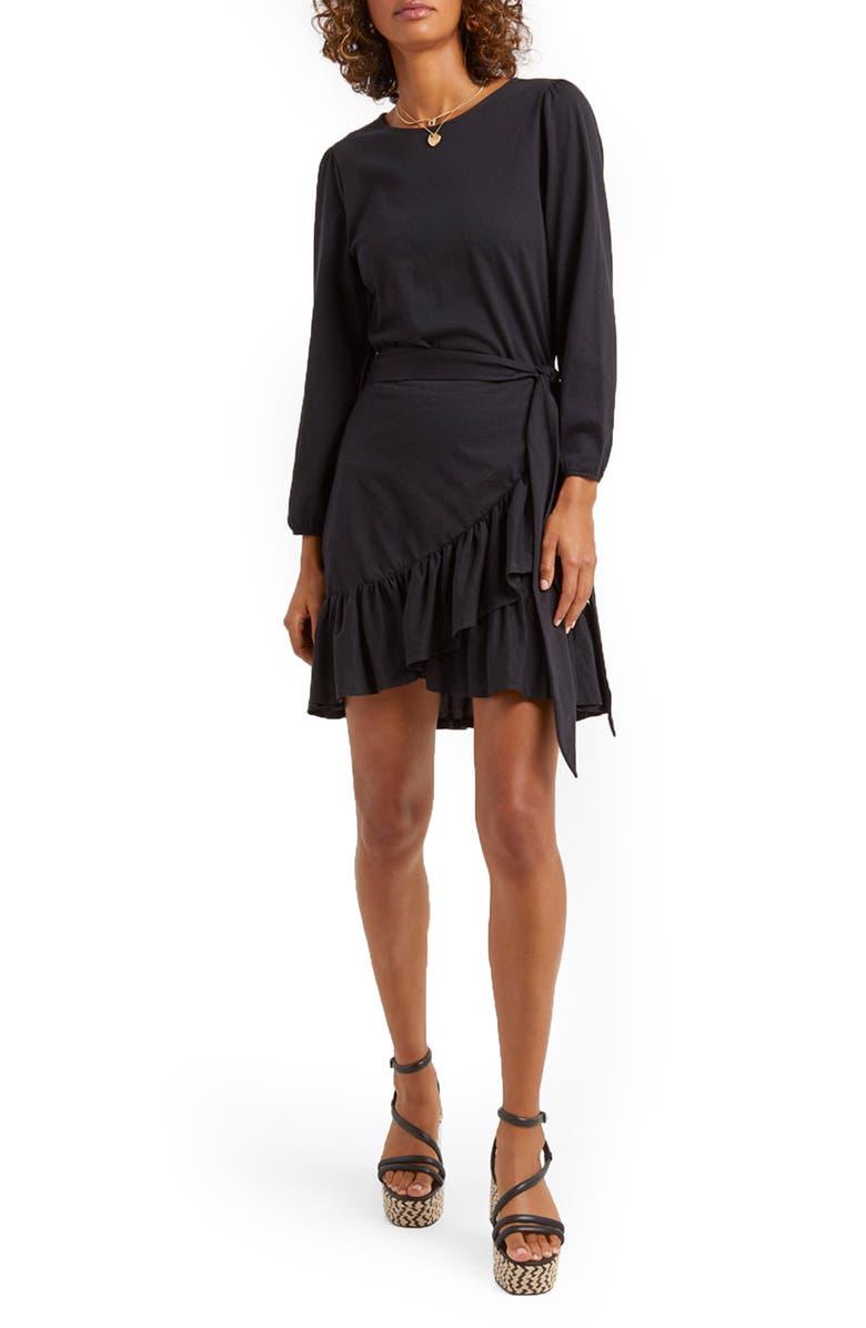 REBECCA MINKOFF Josephine Long Sleeve Cotton Minidress, Main, color, 001