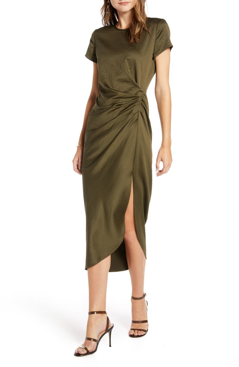 SOMETHING NAVY Shiney Draped Dress, Main, color, OLIVE SARMA