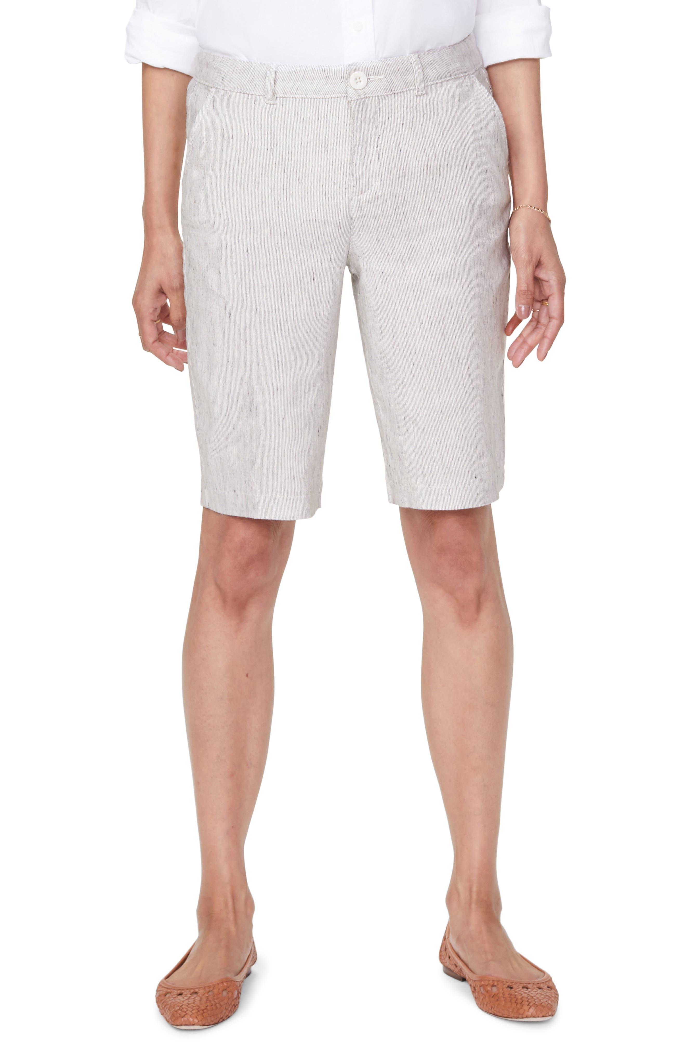 Women's Nydj Stretch Linen Blend Bermuda Shorts,  18 (similar to 14W) - Beige