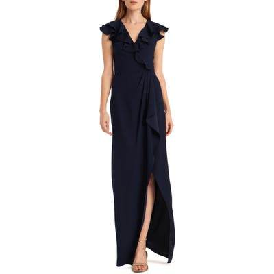 Ml Monique Lhuillier Crepe Back Satin Faux Wrap Gown, Blue