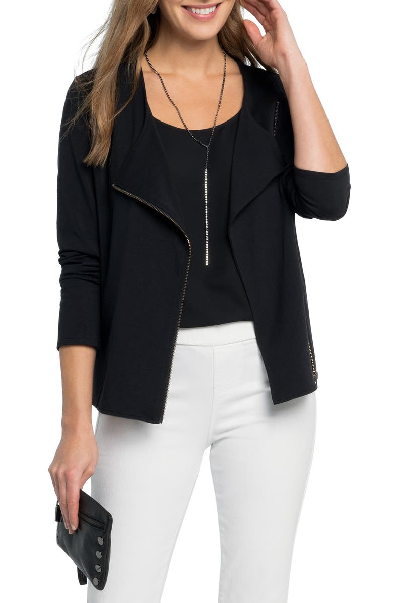 NIC+ZOE Perfect Conquer Lightweight Knit Moto Jacket, Main, color, 004