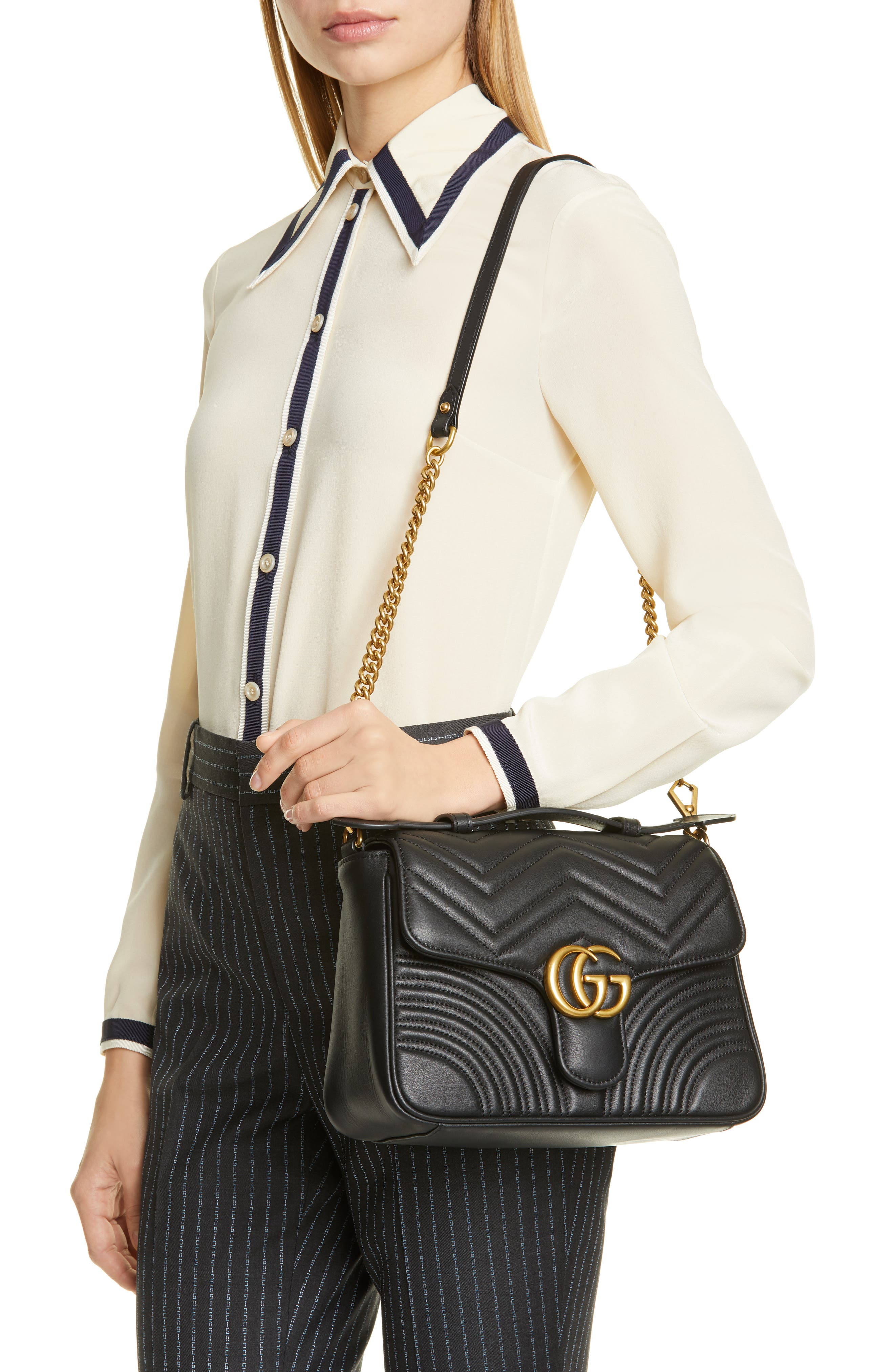 ,                             Small GG Marmont 2.0 Matelassé Leather Top Handle Bag,                             Alternate thumbnail 2, color,                             NERO