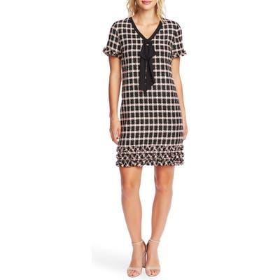 Cece Grid Tweed Short Sleeve A-Line Dress, Black