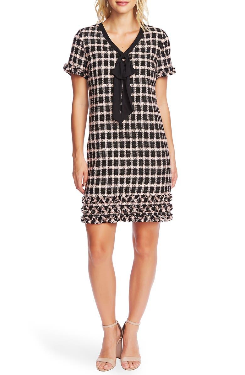 CECE Grid Tweed Short Sleeve A-Line Dress, Main, color, RICH BLACK