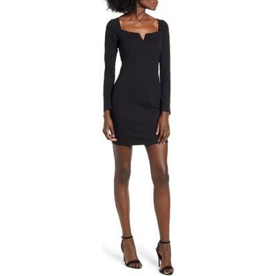Row A Notch Neck Long Sleeve Ribbed Body-Con Dress, Black