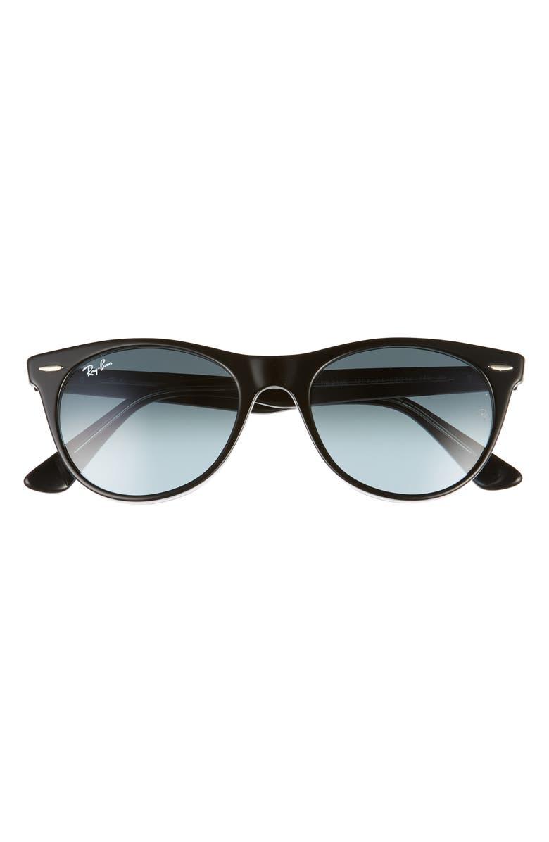 RAY-BAN Phantos 52mm Round Sunglasses, Main, color, BLACK/ BLUE GRADIENT GREY