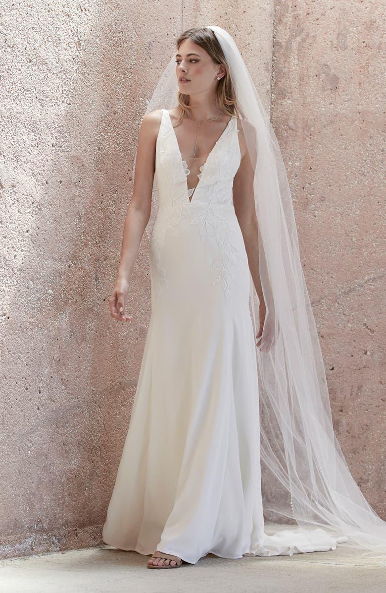 WATTERS Lynda Floral Appliqué Trumpet Wedding Dress, Main, color, IVORY