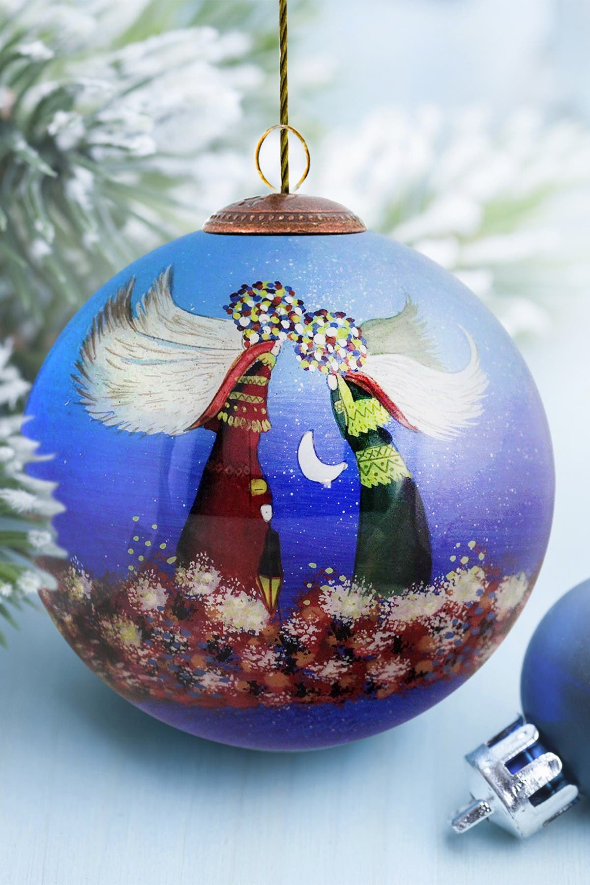 """Image of Overstock Art """"Angels"""" Justyna Kopania Hand Painted Glass Ornament Collection - Set of 12"""