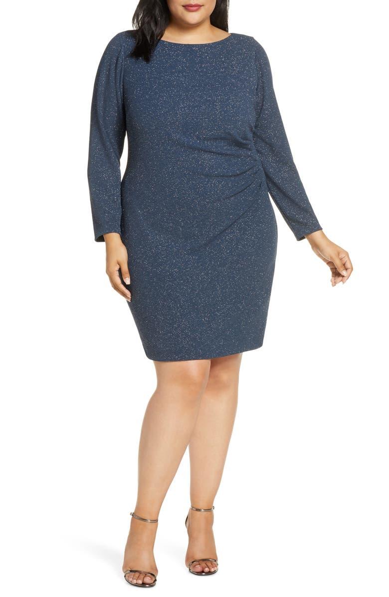 ELIZA J Long Sleeve Glitter Ruched Sheath Dress, Main, color, STEEL