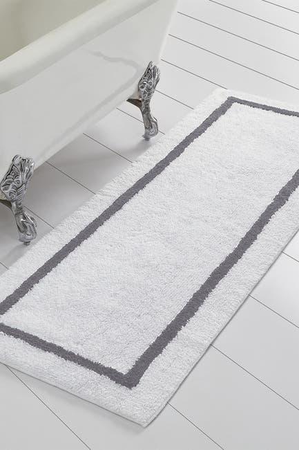 Image of Modern Threads Platinum Reversible Contrast Stripe Bath Runner