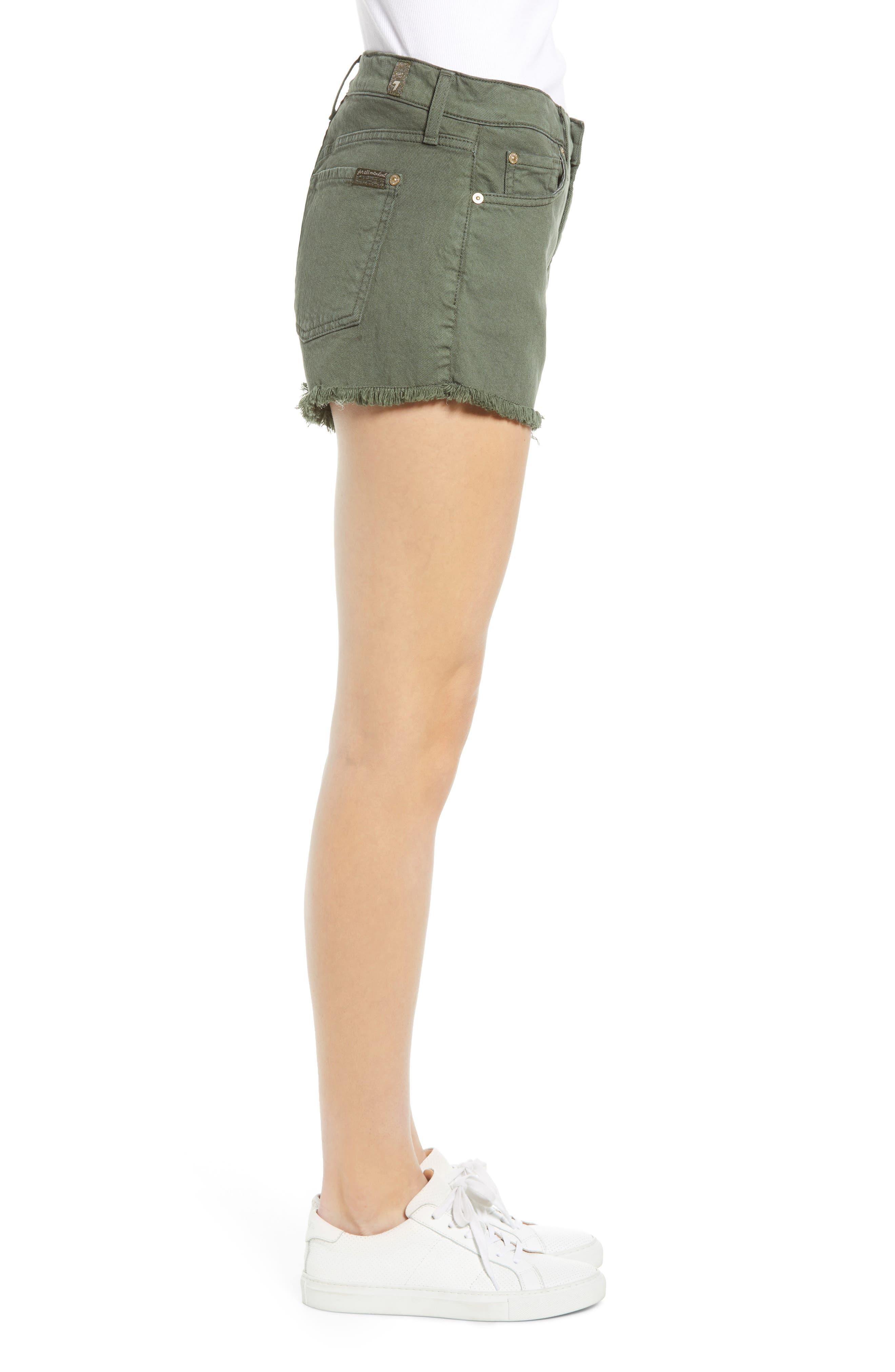 ,                             High Waist Cutoff Denim Shorts,                             Alternate thumbnail 4, color,                             ARMY