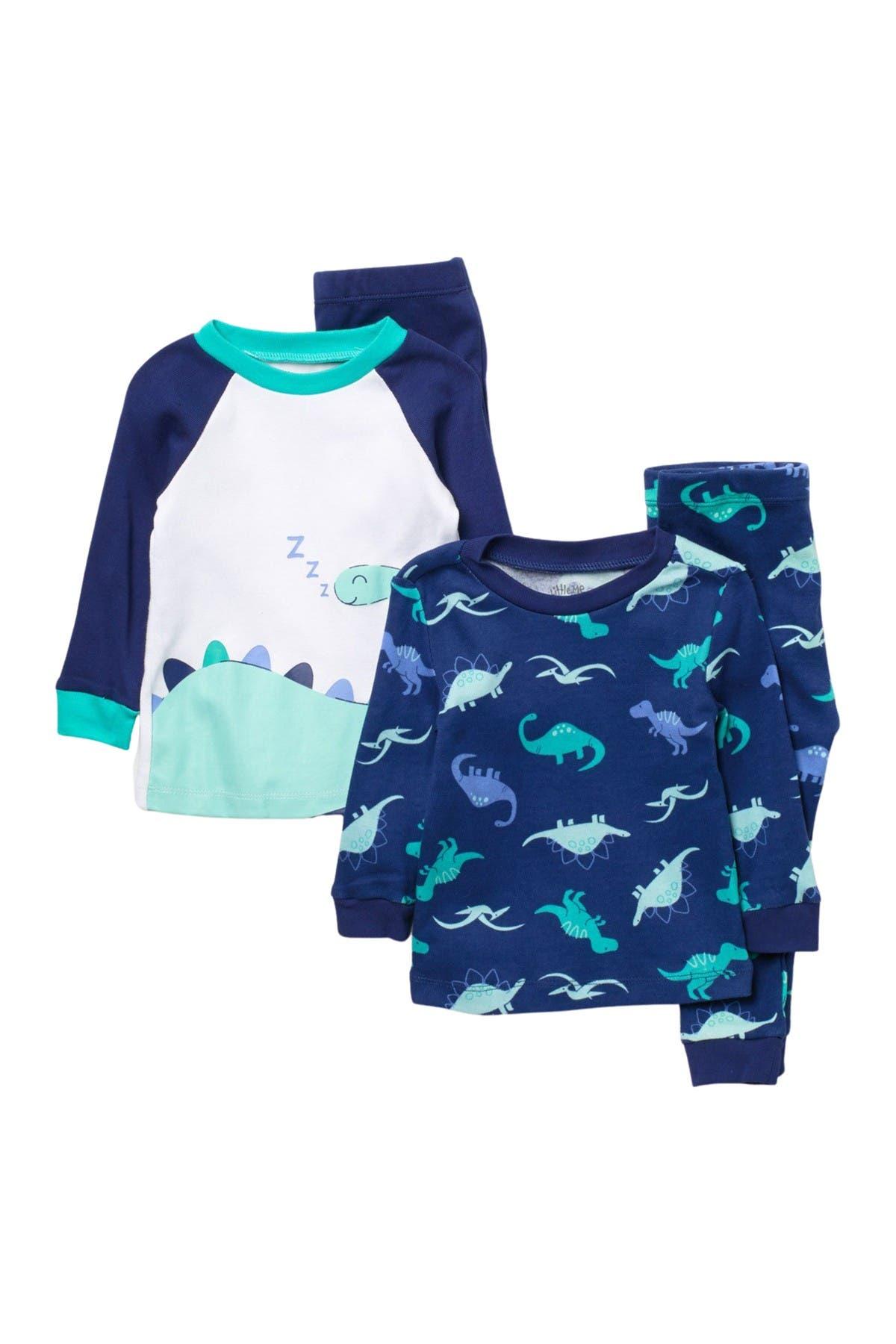 Image of Little Me Dino Print 4-Piece Pajama Set