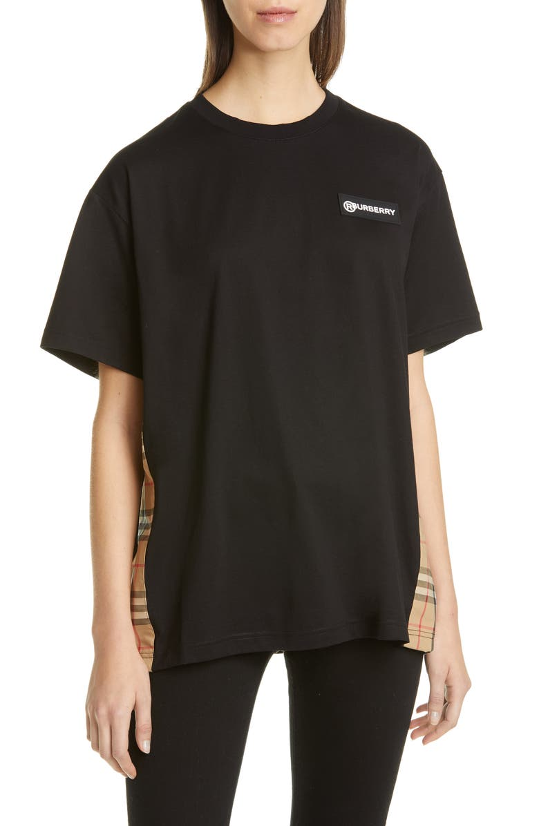 BURBERRY Carrick Oversize Vintage Check Panel Tee, Main, color, BLACK
