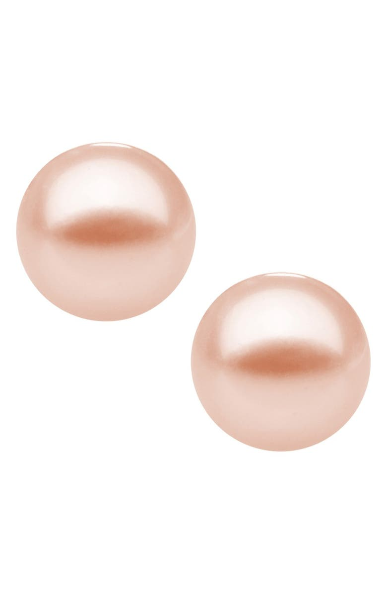 MIGNONETTE Sterling Silver & Cultured Pearl Earrings, Main, color, PINK
