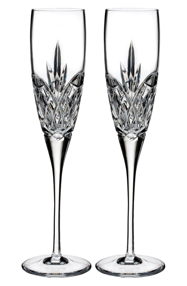 Waterford Forever Lead Crystal Champagne Flutes Set Of 2