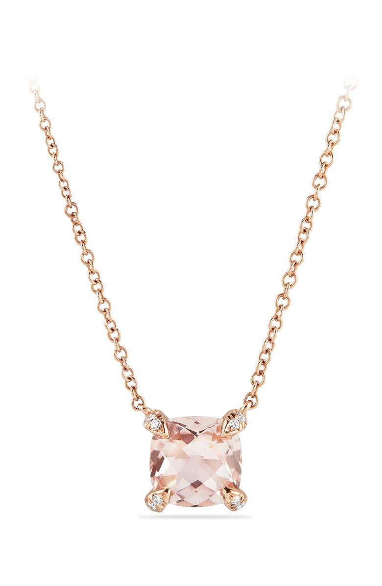 DAVID YURMAN Chatelaine<sup>®</sup> 18k Rose Gold Pendant Necklace with Diamonds, Main, color, ROSE GOLD/ DIAMOND/ MORGANITE