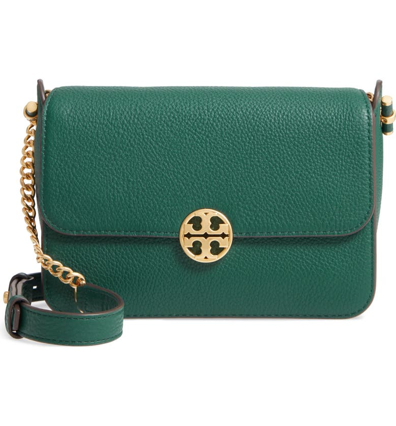 TORY BURCH Chelsea Leather Crossbody Bag, Main, color, MALACHITE