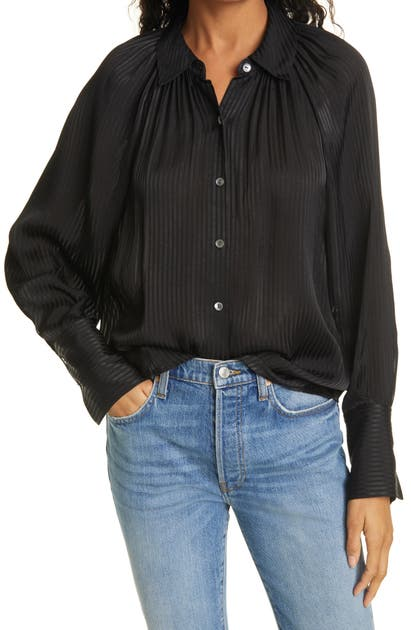 Rebecca Taylor TONAL STRIPE LONG SLEEVE BLOUSE