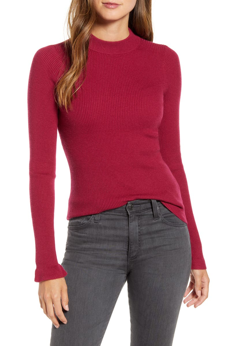 RACHEL PARCELL Mock Neck Ribbed Long Sleeve Sweater, Main, color, BURGUNDY BEET