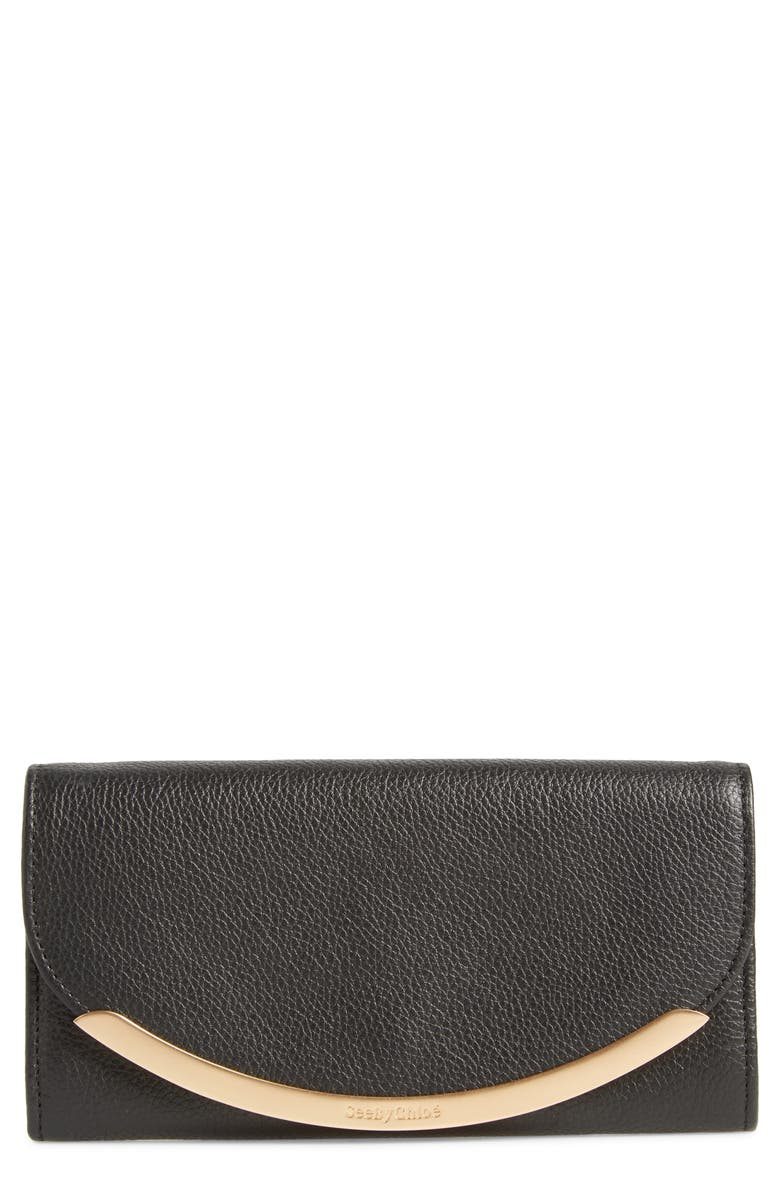 SEE BY CHLOÉ Lizzie Leather Continental Wallet, Main, color, BLACK